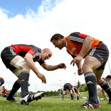 Paul O'Connell and Wian du Preez training with the Munster squad