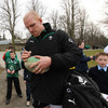 Paul O'Connell, pictured signing a rugby ball for a young fan, was a popular figure for autograph hunters
