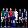 Ireland's Paul O'Connell poses with the rest of the captains and the RBS 6 Nations trophy on launch day in London