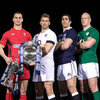 Ireland skipper Paul O'Connell is pictured with Sam Warburton from reigning Six Nations champions Wales, England's Chris Robshaw and Kelly Brown of Scotland