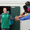 Paul O'Connell, who will sit out Sunday's match against Russia, was greeted by some young fans as he made his way towards the pitch at Rotorua International Stadium