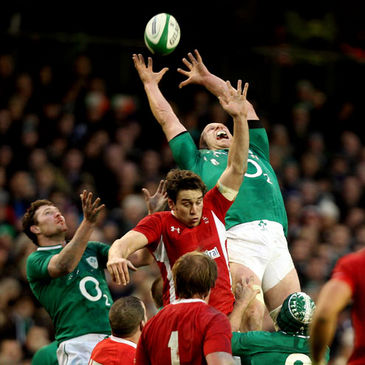 Paul O'Connell gathers a high ball against Wales