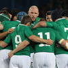 Number 8 Jamie Heaslip gets his point across during a pre-match huddle, as Paul O'Connell and Brian O'Driscoll look on