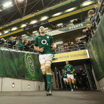 Paul O'Connell leads the Ireland squad out at the Aviva Stadium