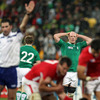 Ireland's pack leader Paul O'Connell reacts as referee Craig Joubert awards a late penalty to Pool D runners-up Wales