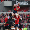 Paul O'Connell claims a restart kick for Munster with support from Niall Ronan and Tony Buckley