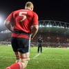 Paul O'Connell leads the Munster side out for the second half at Thomond Park Stadium
