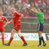 An off-the-ball incident involving Paul O'Connell and Jonathan Thomas resulted in Munster's fit-again skipper receiving his marching orders from referee Christophe Berdos
