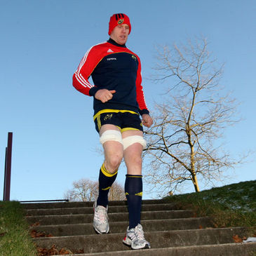 Munster captain Paul O'Connell arrives for training