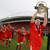 Munster captain Paul O'Connell receives a big reception from the crowd as he proudly displays the Magners League trophy