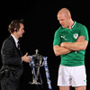 Paul O'Connell gets a close-up view of the RBS 6 Nations trophy which Ireland secured in Grand Slam-winning style in 2009