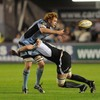 Connacht's Michael Swift challenges Paul Tito but the Cardiff Blues captain is able to get the ball away