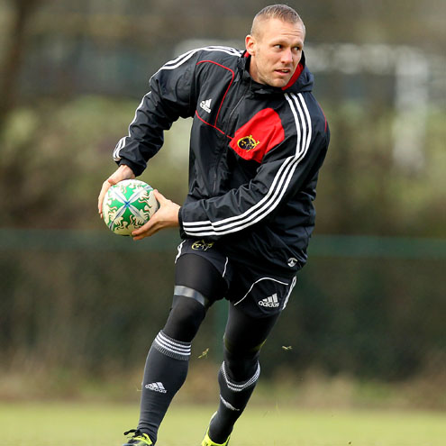 Paul Warwick training with Munster in Cork