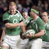 Ireland's Paul O'Connell celebrates after scoring the last try in Lansdown Road