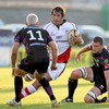 Pedrie Wannenburg, one of Ulster's South African recruits, takes on Ospreys winger Richard Fussell