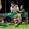 Connacht's Keith Matthews and Ian Keatley halt the progress of Ulster's Springbok back rower Pedrie Wannenburg