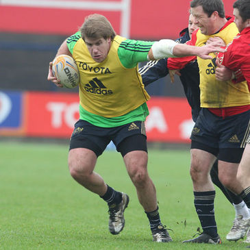 Peter Borlase training with the Munster squad