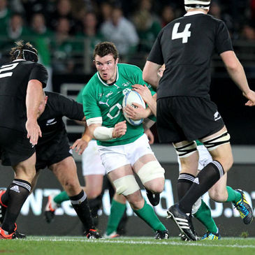 Ireland's Peter O'Mahony powers his way forward