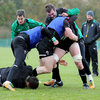 Peter O'Mahony, the seven-times capped back rower, gets a tackle in on Gordon D'Arcy during a contact drill