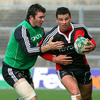 Peter O'Mahony, who captained the Munster 'A' side in last season's British & Irish Cup, tackles Denis Leamy