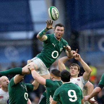 Flanker Peter O'Mahony wins a lineout for Ireland
