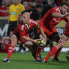 Munster scrum half Peter Stringer passes away from a ruck during the province's bonus point victory in Cork