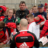 Scrum half Peter Stringer ran the Thomond Park autograph gauntlet with ease