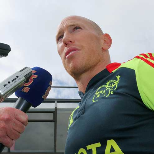 Munster scrum half Peter Stringer is interviewed ahead of the new season