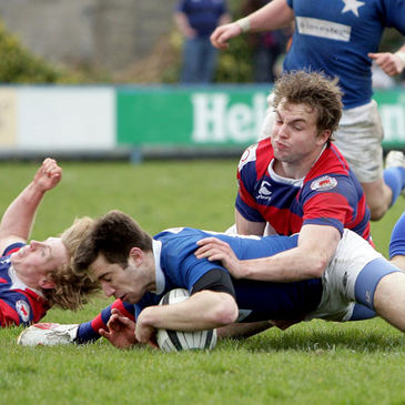 St. Mary's replacement Philip Brophy gets over for a try