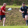 IRFU head of fitness Philip Morrow did some ball work with Cian Healy, who is hoping to feature against Australia in Ireland's second pool game