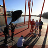 The sun shone brightly as the team captains posed for photographers and camera crews near the river Liffey
