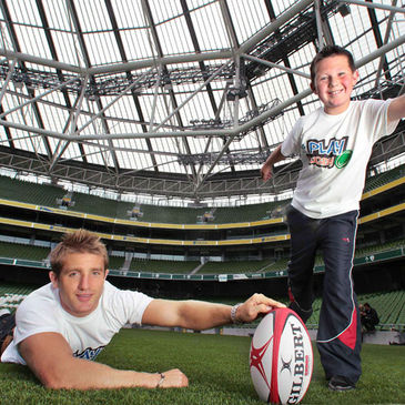 Darragh Whelan lines up a kick at the Aviva Stadium