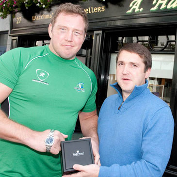 Connacht Player of the Month Michael Swift receives his award