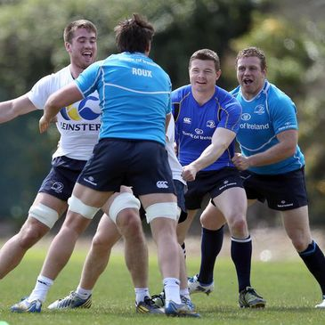 The Leinster players trained in the May sunshine