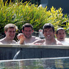 Andrew Trimble, Fergus McFadden, Donncha O'Callaghan and Isaac Boss are pictured together as the players enjoy a post-training dip in Taupo