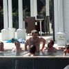 Back at the team hotel in Taupo, Sean O'Brien and some of the players took the opportunity to have a soak in the hot tub