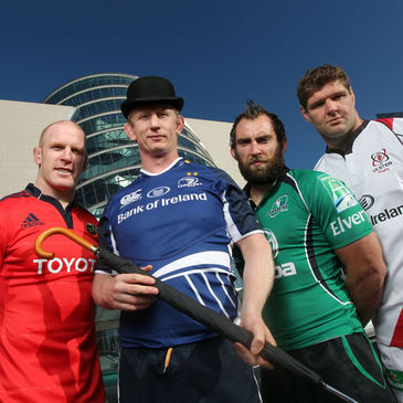 A bowler hat-wearing Leo Cullen with Paul O'Connell, John Muldoon and Johann Muller