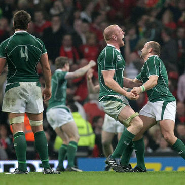 The Ireland players celebrate at the final whistle