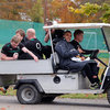 Jamie Heaslip is at the wheel of the golf cart as he drives some of his Ireland team-mates to the training pitch at Carton House