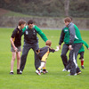 The seven-year-old Cameron gets ready for a hand-off as Rob Kearney, Fergus McFadden and Sean Cronin await his next move