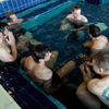 Tony Buckley, Jerry Flannery, Donncha O'Callaghan, Tom Court, Isaac Boss and Jamie Heaslip relax in the pool after training