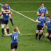 As referee Romain Poite blows his whistle for full-time, Brian O'Driscoll, Jamie Heaslip and the rest of the Leinster players kickstart the celebrations
