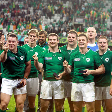 The Ireland players celebrate their win over Italy