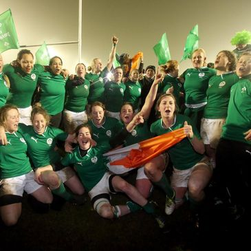 The Ireland players celebrate their win over France