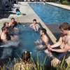 The players made use of the outdoor pool and hot tub facilities on their first day of training in the town of Taupo
