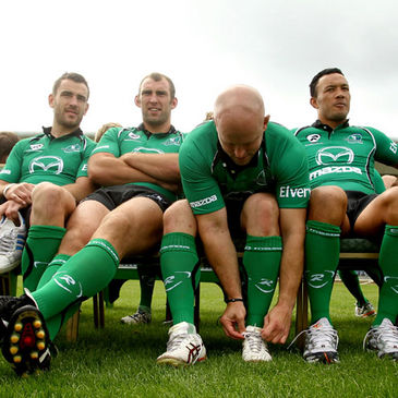 The Connacht players relax before posing for their squad photographs