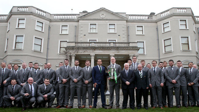 The Ireland squad with the trophy at Farmleigh House