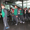 The players and the rest of the travelling party checked in ahead of their 5pm flight to Heathrow Airport in London