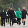 Rob Kearney and Tomas O'Leary lead the way as the players arrive for training at Carton House