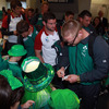Tom Court, Fergus McFadden and the rest of the players got an enthusiastic reception from these young Ireland fans at Dunedin Airport